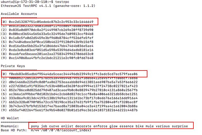 Ethereum TestRPC Output