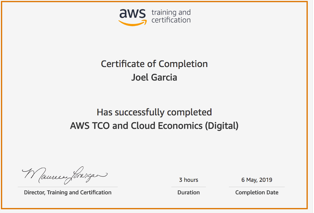 AWS TCO and  Cloud Economics Joel Garcia