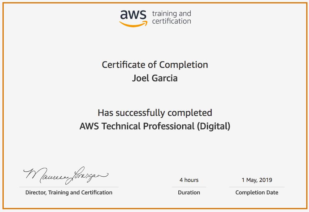 AWS Technical Professional Joel Garcia