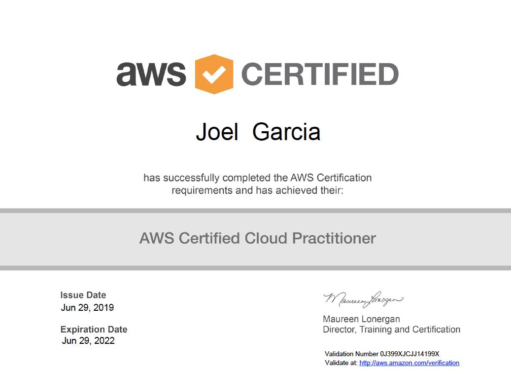 AWS Certified Cloud Practitioner Joel Garcia