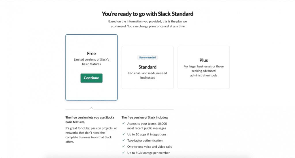 Choosing a Slack Plan
