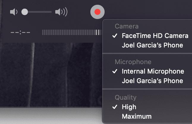 Quick Time New Movie Recording iPhone
