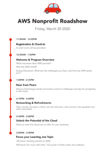 AWS Nonprofit Roadshow San Francisco Schedule Itinerary