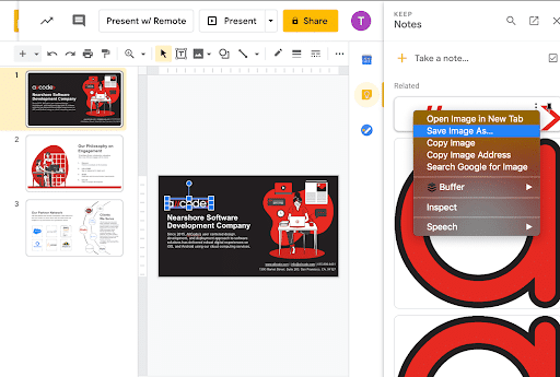 Save image as in google slides to export to third party