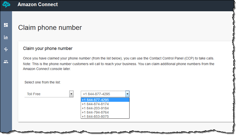 Amazon Connect Claiming a phone number